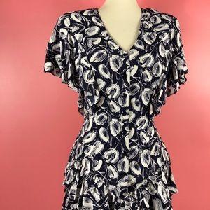 Vtg 80s Button Abstract Tulip Peplum Dress SM